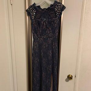 Steel blue dress from David's Bridal